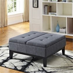 Pemberly Row Coffee Table Storage Ottoman in Gray