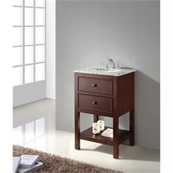 Pemberly Row Single Granite Top Bathroom Vanity in Walnut Brown