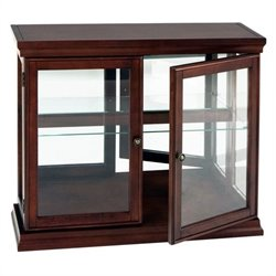 Pemberly Row Mahogany Curio Console Sofa Table with Glass Doors