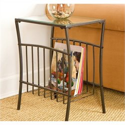 Pemberly Row Metal Magazine Table in Textured Black