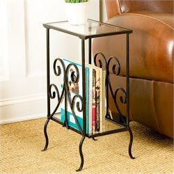 Pemberly Row Metal Magazine Table in Painted Black