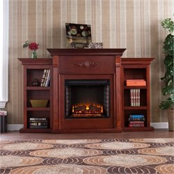 Pemberly Row Electric Fireplace w Bookcases in Mahogany