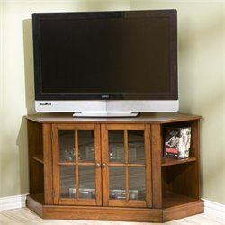 Pemberly Row Parkridge Corner Media Stand in Walnut