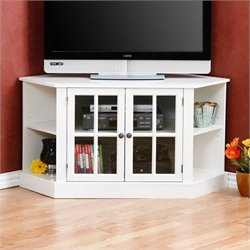 Pemberly Row Parkridge Corner Media Stand in Painted White