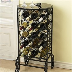 Pemberly Row Glass Top Wine Table in Painted Black