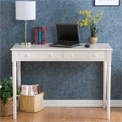 Pemberly Row Wood Writing Computer Desk in Crisp White