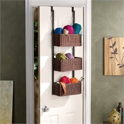 Pemberly Row Over the Door Basket Storage in Espresso
