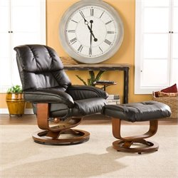 Pemberly Row Leather Recliner and Ottoman