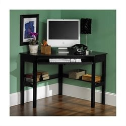 Pemberly Row Corner Computer Desk in Painted Black