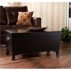 Pemberly Row Cocktail Table Trunk in Black Finish
