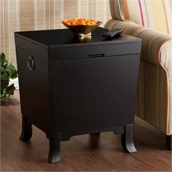Pemberly Row End Table Trunk in Black Finish