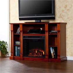 Pemberly Row Electric Media Fireplace in Espresso