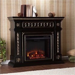 Pemberly Row Electric Fireplace in Black Finish