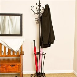 Pemberly Row Metal Scroll Hall Tree in Painted Black Finish
