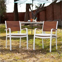 Pemberly Row Outdoor Chair in Soft White Set of 2