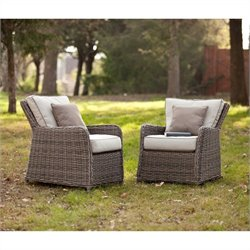 Pemberly Row Outdoor Chairs in Gray and Beige Set of 2