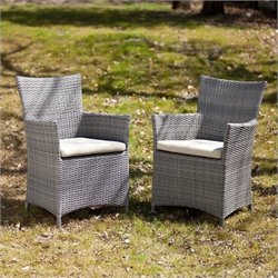 Pemberly Row Outdoor Easy Chairs in Gray Set of 2