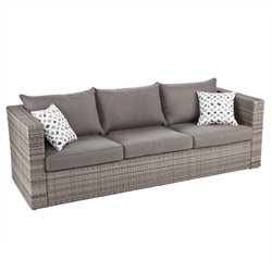 Pemberly Row Outdoor Deep Seating Sofa in Gray