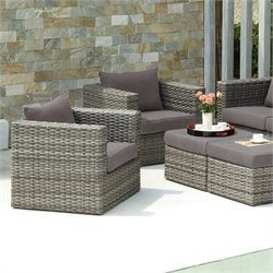 Pemberly Row Outdoor Sofa Set in Gray