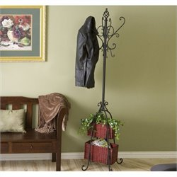 Pemberly Row Coat Rack with Rattan Storage in Black