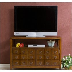Pemberly Row Double Door Media Stand in Brown Mahogany