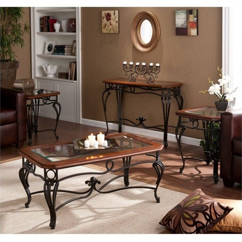 Pemberly Row 4 Piece Coffee Table Set In Dark Cherry Pr