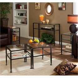 Pemberly Row 5 Piece Glass Metal Table Set in Black
