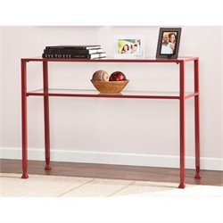 Pemberly Row Glass Top Metal Console Table in Red