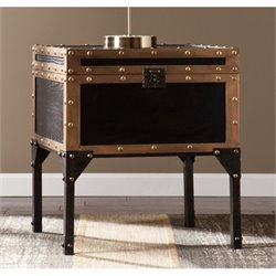Pemberly Row Drifton Travel Trunk End Table in Black