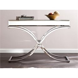Pemberly Row Ava Mirrored Console Table in Chrome