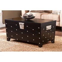 Pemberly Row Nailhead Trunk Coffee Table in Black and Silver