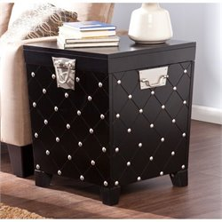 Pemberly Row Nailhead Trunk End Table in Black and Silver