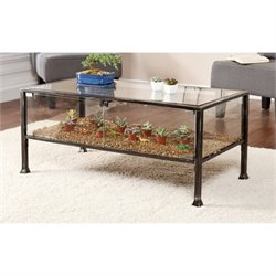 Pemberly Row Glass Display Coffee Table in Black