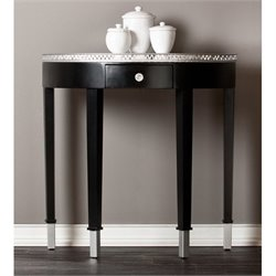 Pemberly Row Starling Mirrored Demilune Accent Table in Black