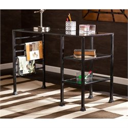 Pemberly Row Glass Writing Desk in Distressed Black
