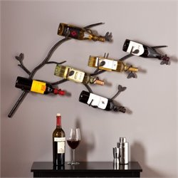 Pemberly Row Brisbane Wall Mount Wine Rack in Wrought Iron