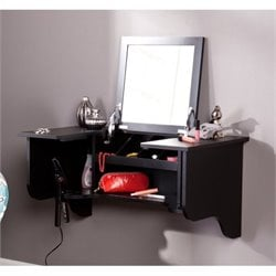 Pemberly Row Wall Mount Ledge Vanity in Black