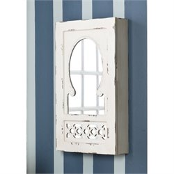 Pemberly Row Wall Mount Jewelry Armoire in Antique White