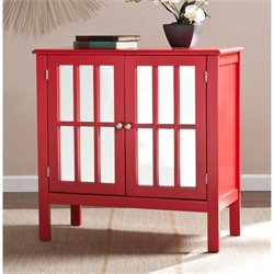 Pemberly Row Pike Mirrored Console Table with Storage in Red