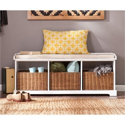 Pemberly Row Entryway Storage Bench in White