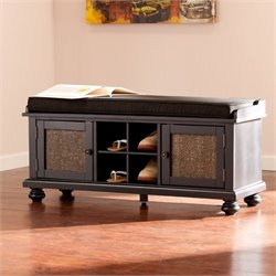 Pemberly Row Embossed Door Storage Bench in Black