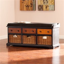 Pemberly Row Storage Bench in Black and Wood
