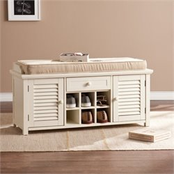 Pemberly Row Shoe Storage Bench in Antique White