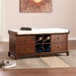 Pemberly Row Shoe Storage Bench in Espresso and Ivory