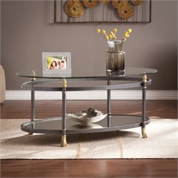 Pemberly Row Oval Glass Coffee Table in Gold