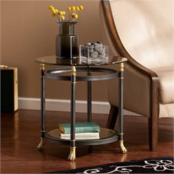 Pemberly Row Round Glass End Table in Gold