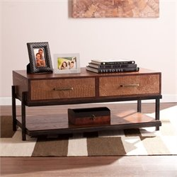 Pemberly Row Coffee Table with Drawers in Espresso
