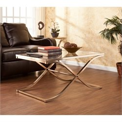 Pemberly Row Glass Coffee Table in Champagne Brass