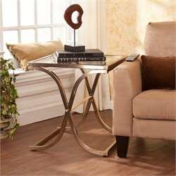 Pemberly Row Glass End Table in Champagne Brass