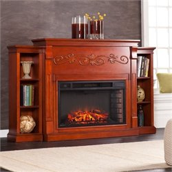 Pemberly Row Bookcase Electric Fireplace in Mahogany